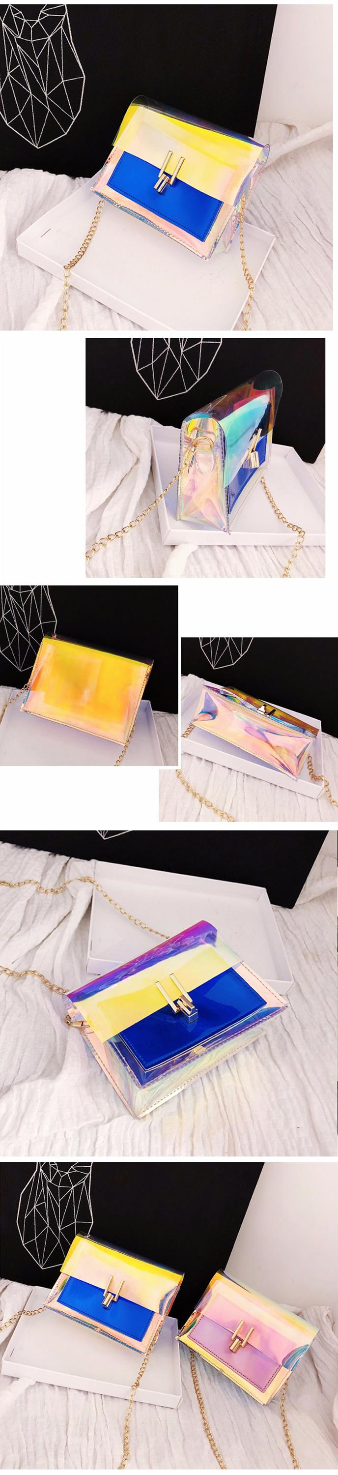 Wholesale colorful transparent pvc neon chain purses bags jelly handbags for women