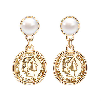 Fashion gold pearl coin earrings For Women Wholesale N99094