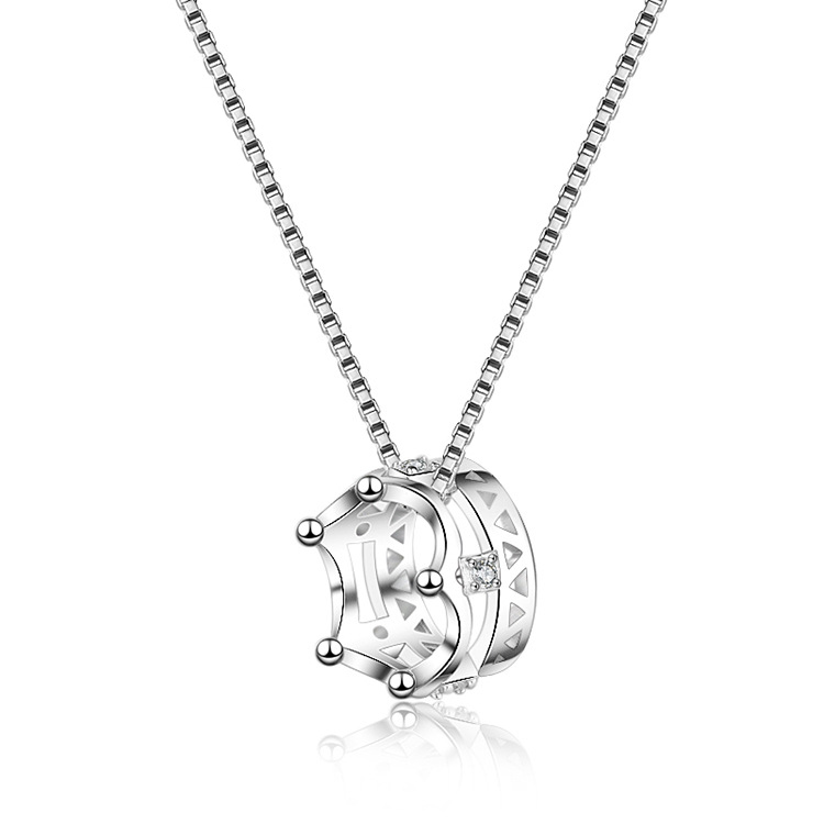 S925 sterling silver female crown pendant fashion accessories temperament European and American collarbone chain as a gift for <strong>h</strong>
