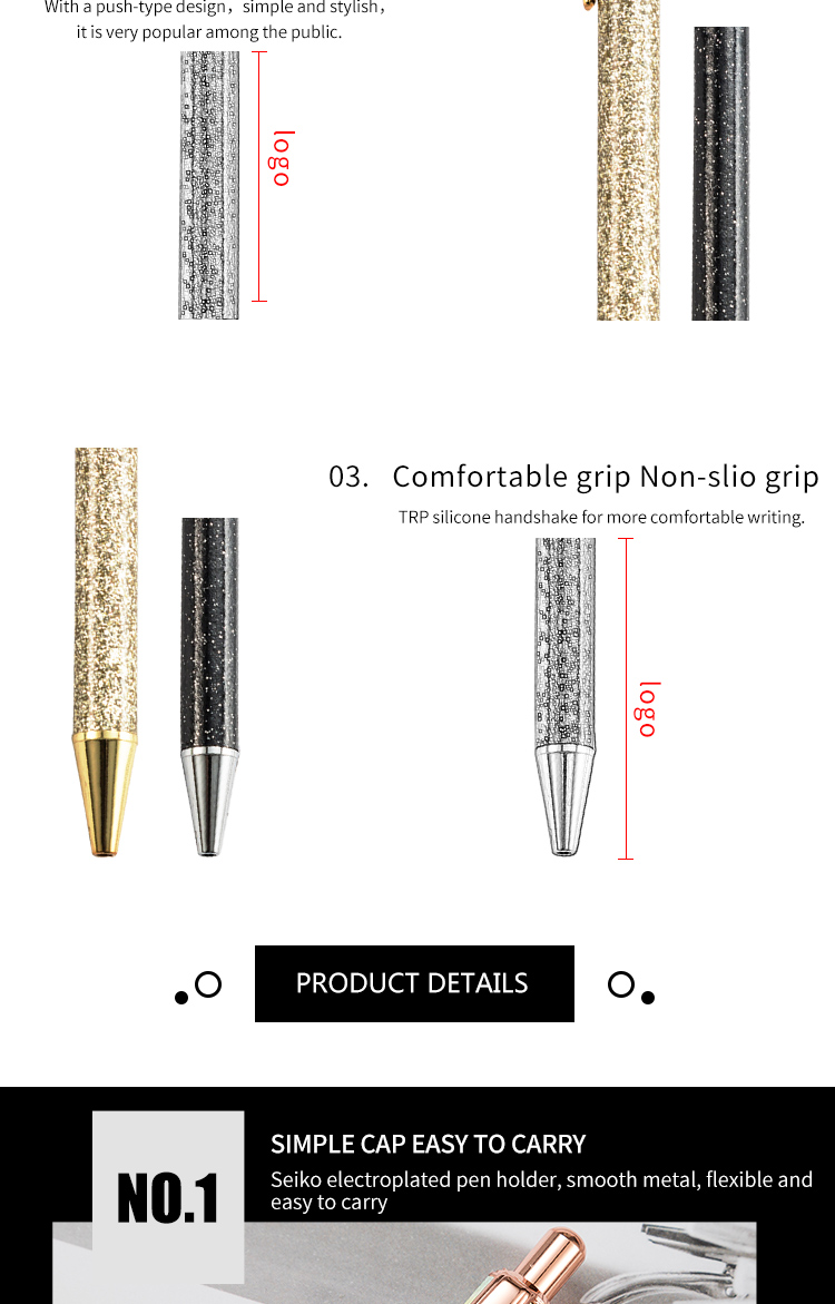 High Grade Creative gold powder ballpoint pen for gift Colorful metal pen with Flash Metal powder pen body