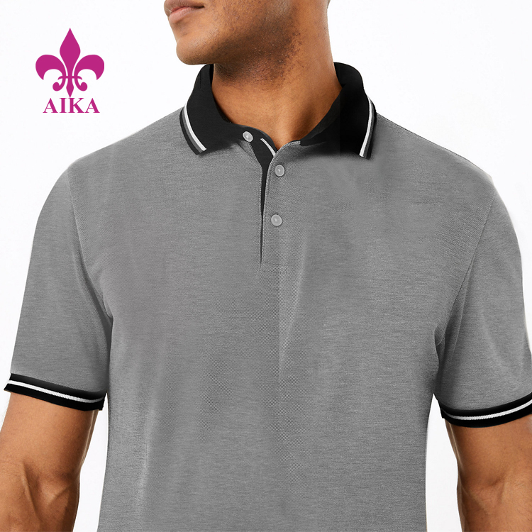 Wholesale Gentle Design Classic Casual Style Lightweight Textured Tipped Polo Shirt for Men