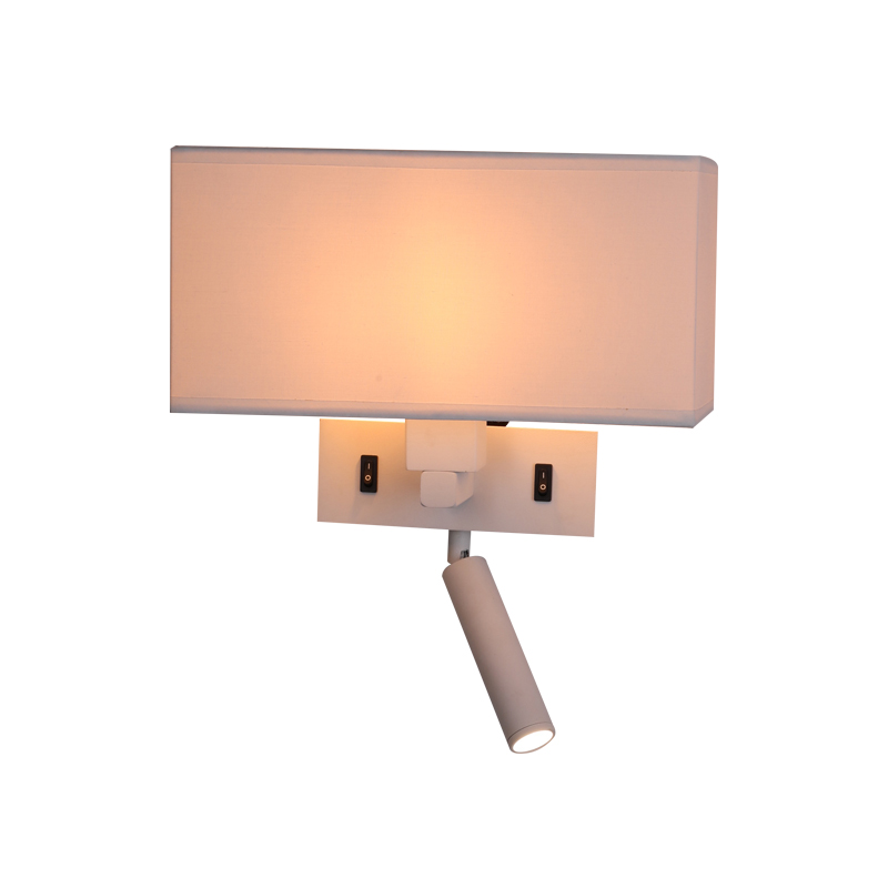 High quality hotel fabric shade Square led sconce reading <strong>lights</strong> wall mounted bed lamp for bedroom