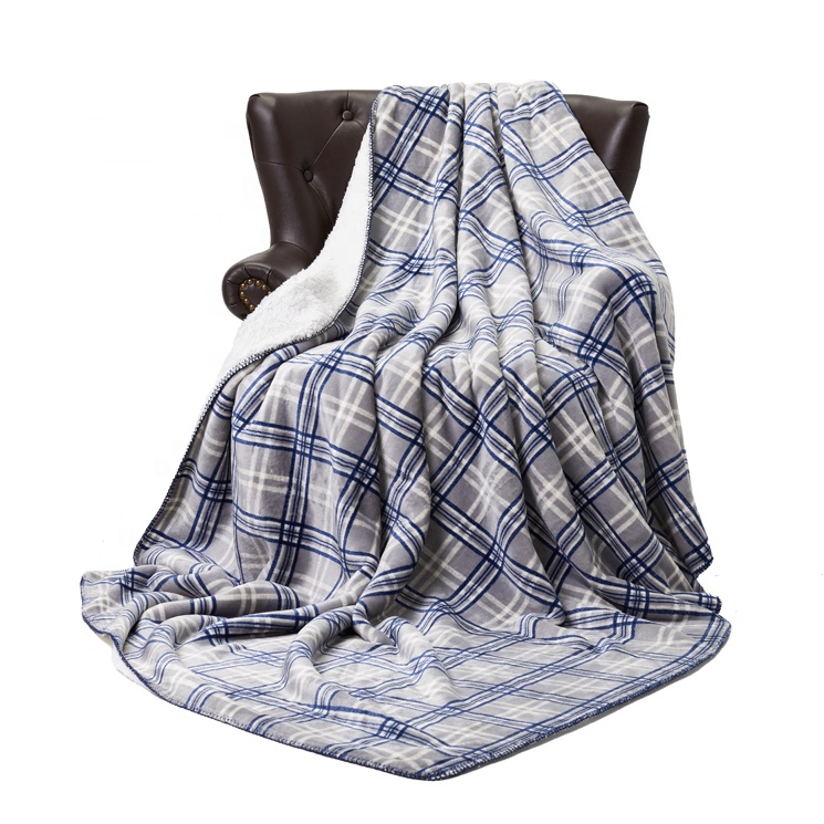 Warm Heavy Blanket Mexican Moving <strong>Plaid</strong> Sensory Faux Fur Throw Blanket For Winter