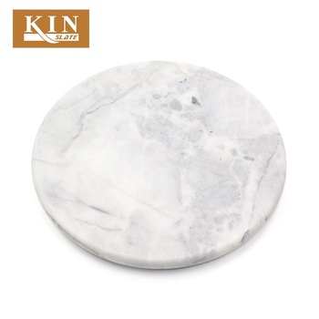 Good touch white round marble plate food use