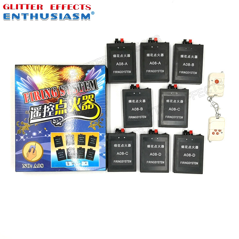 <strong>A08</strong> Two remote control 8 cue receiver pyrotechnic fireworks ignition fire system