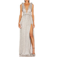 Romantic Sexy Champagne Color Luxurious Maxi Sequin Evening Dress