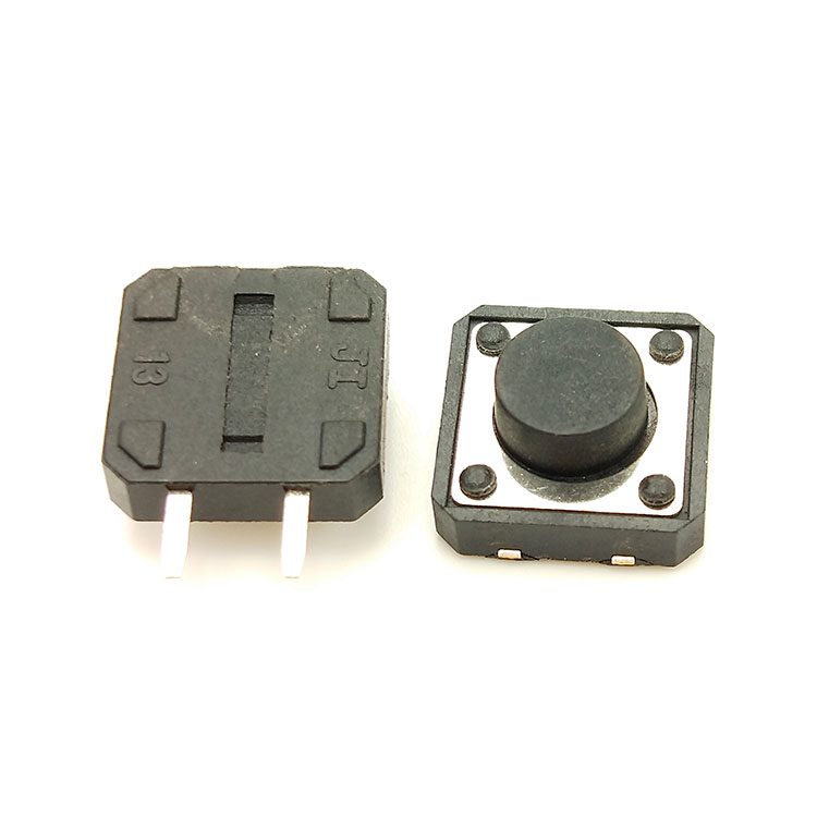 SMD 12x12mm series ON-OFF 2 pin terminal black push button tact <strong>switch</strong>