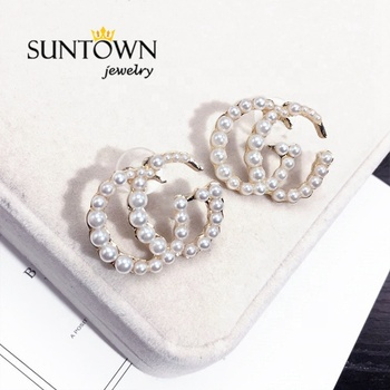 Suntown New Style Personality All-match Shiny Pearl Earrings Fashion Letter Trend Earrings GG Earrings Circle Jewelry