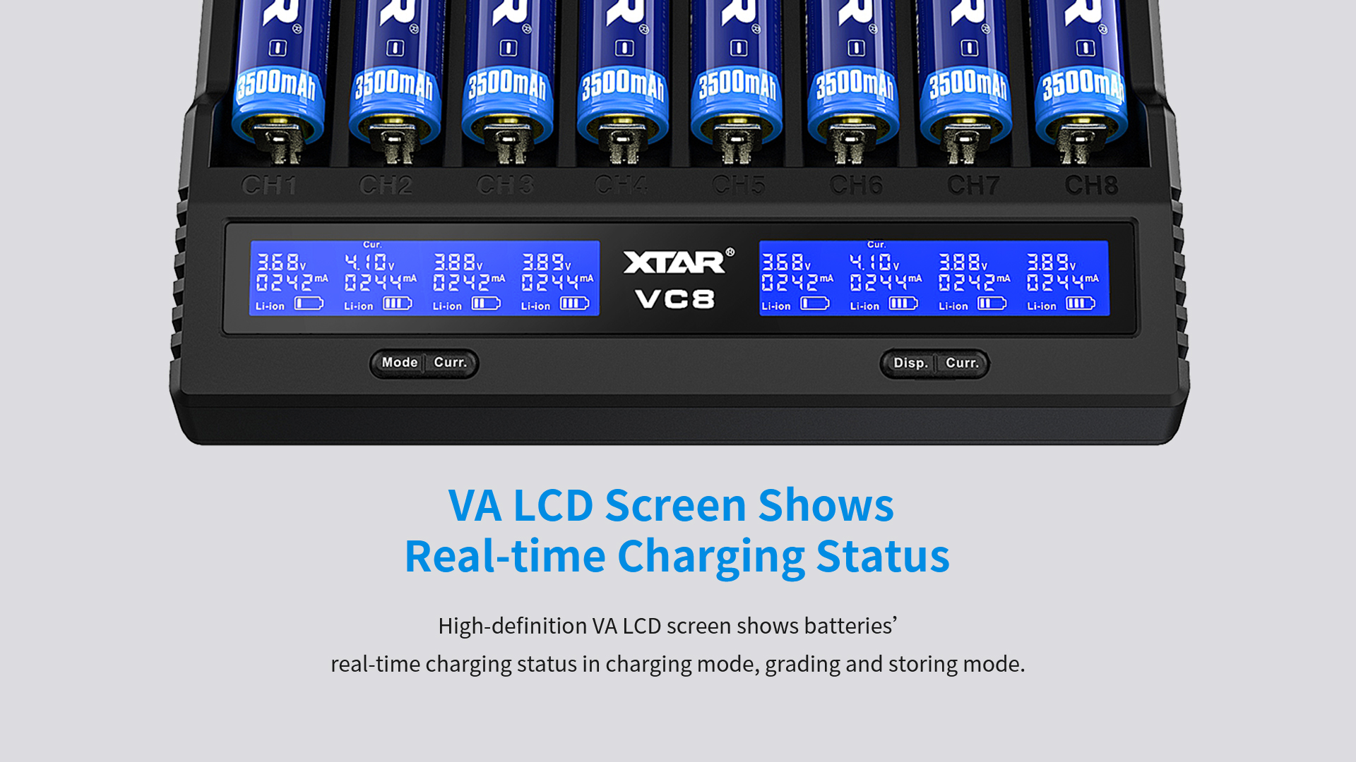 2020 latest QC 3.0  LCD Display 8 slots Fast Charging Charger VC8