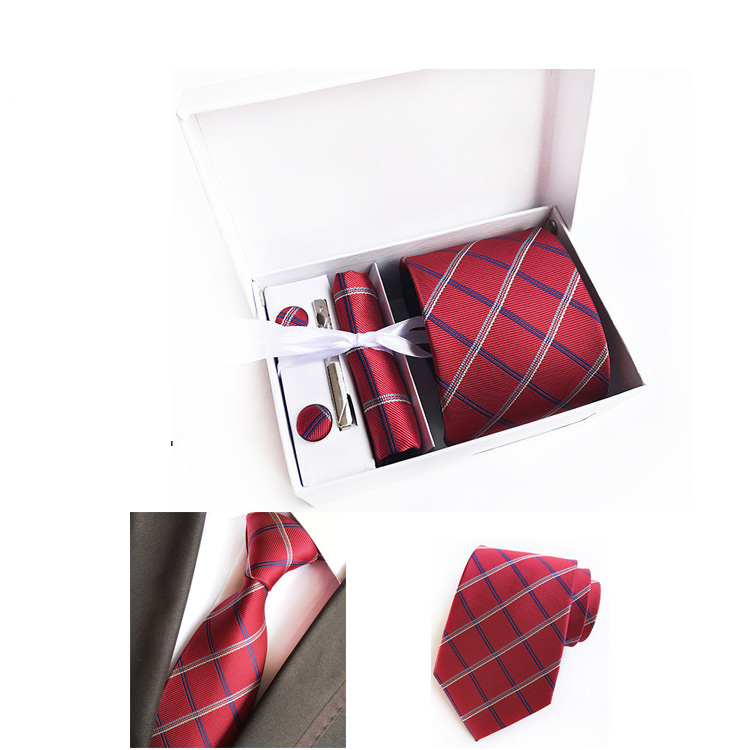 Wholesale Good Quality 2018 Polyester Mens Tie Cufflink Pocket Square Sets With Gift Box Packaging
