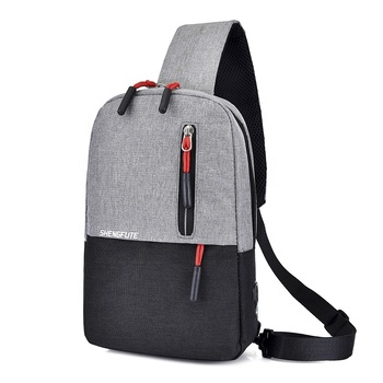 Fashion Patchwork Waterproof Small Crossbody messenger sling chest bag with Headphone jack