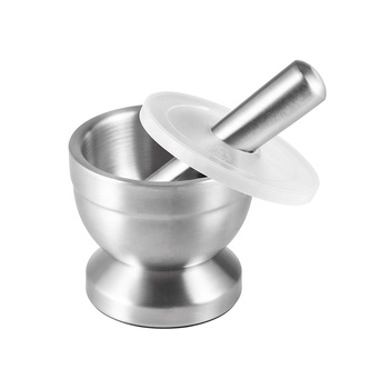 Kitchen utensils Grind tool heavy duty garlic press 304 Brushed Spice Grinder Stainless Steel Mortar and Pestle