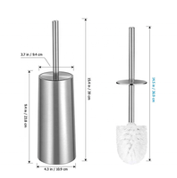 Amazon Hotsale Bathroom Accessories Bristle Toilet Brush with a stainless steel holder