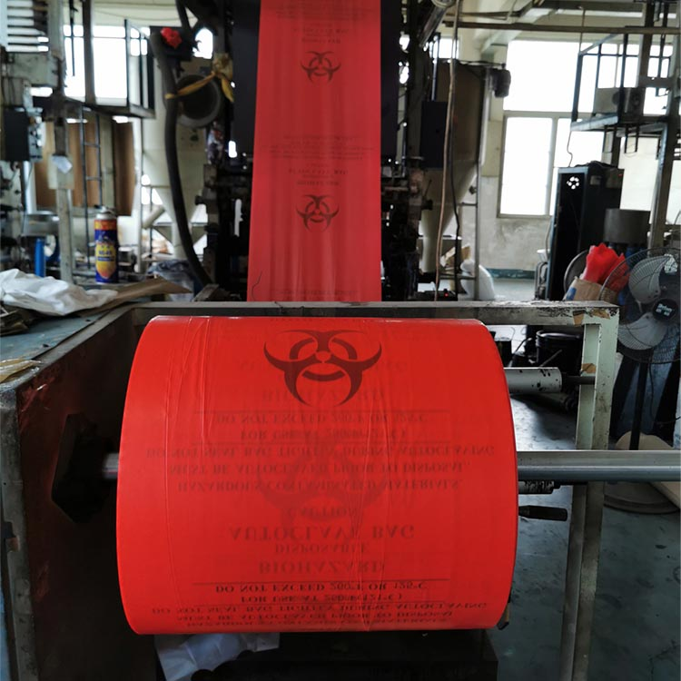 Factory manufacturers custom logo biohazard red mesical plastic waste bag