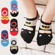 Wholesale children spring summer mesh cartoon hero college Superman boys girls baby cute kids socks