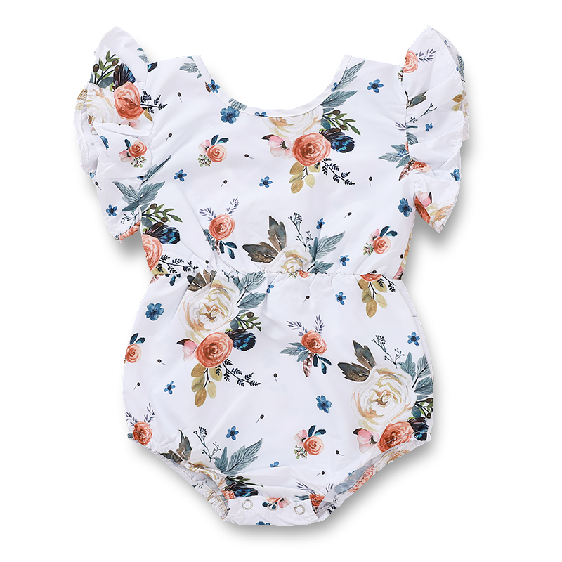 Toddlers summer sleeveless wholesale onesie infant ruffle flutter clothing newborn girls floral fly sleeve rompers <strong>baby</strong>