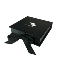 Custom Black Gift Boxes Chocolate Packaging with Ribbon