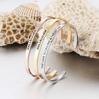 Dongguan factory Custom Engraved Any Words Stainless Steel Cuff Bracelet For Unisex