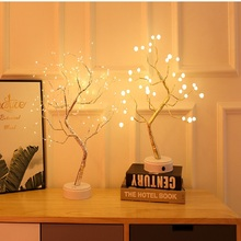 Christmas Greeting Tree Light 108 led Copper wire Fire Night Light for Wedding Party Home Decorations USB Firefly Tree Lamp