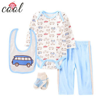 2019 wholesale newborn baby boy gift romper set 100% cotton baby clothes set