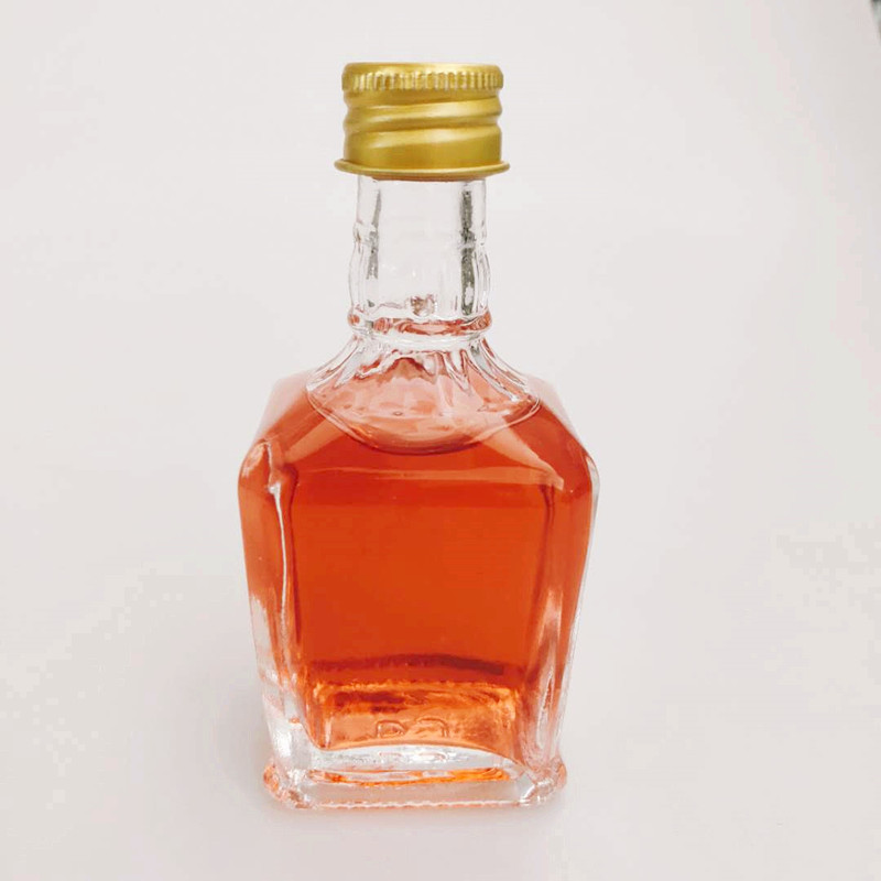 50ml square shape food grade glass empty bottle with screw top lid for storing beverage wine,vodka