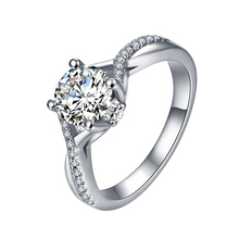AliExpress Hot Sales Customized 925 Sterling Silver Solid 4 Claw Prongs Moissanites Diamond Engagement Wedding <strong>Ring</strong>