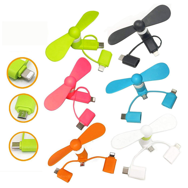 3 in 1 Type -C <strong>Fan</strong> Portable Mobile Phone USB Mini <strong>Fan</strong> for Android mobile phones for iphone