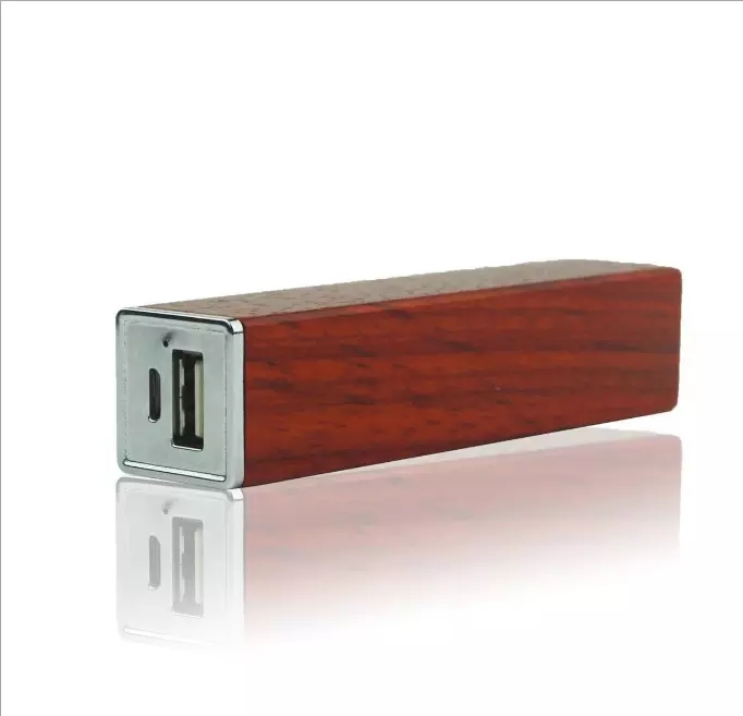Portable battery charger 2600mah mini lipstick bamboo wooden power bank