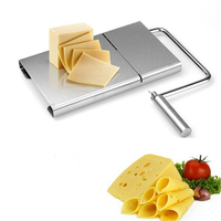 Cheese Slicer Stainless Steel Wire Butter Cutter with Serving Board for Hard and Semi Hard Cheese Butter Sausage