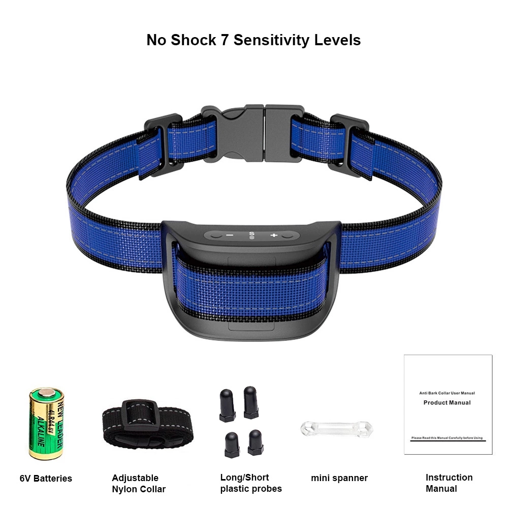 Hot Selling  Adjustable Levels No Shock Anti  Bark Collar for Large Medium Dogs