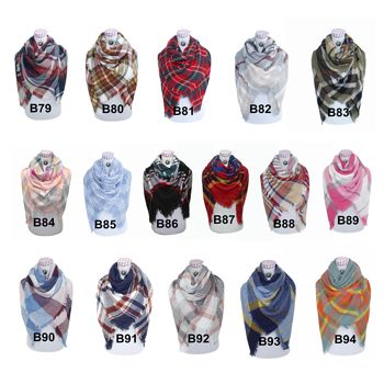 Fall Winter New Design Over 200 colors Oversize Women Winter Acrylic Wrap Shawls Square Plaid Blanket Scarf