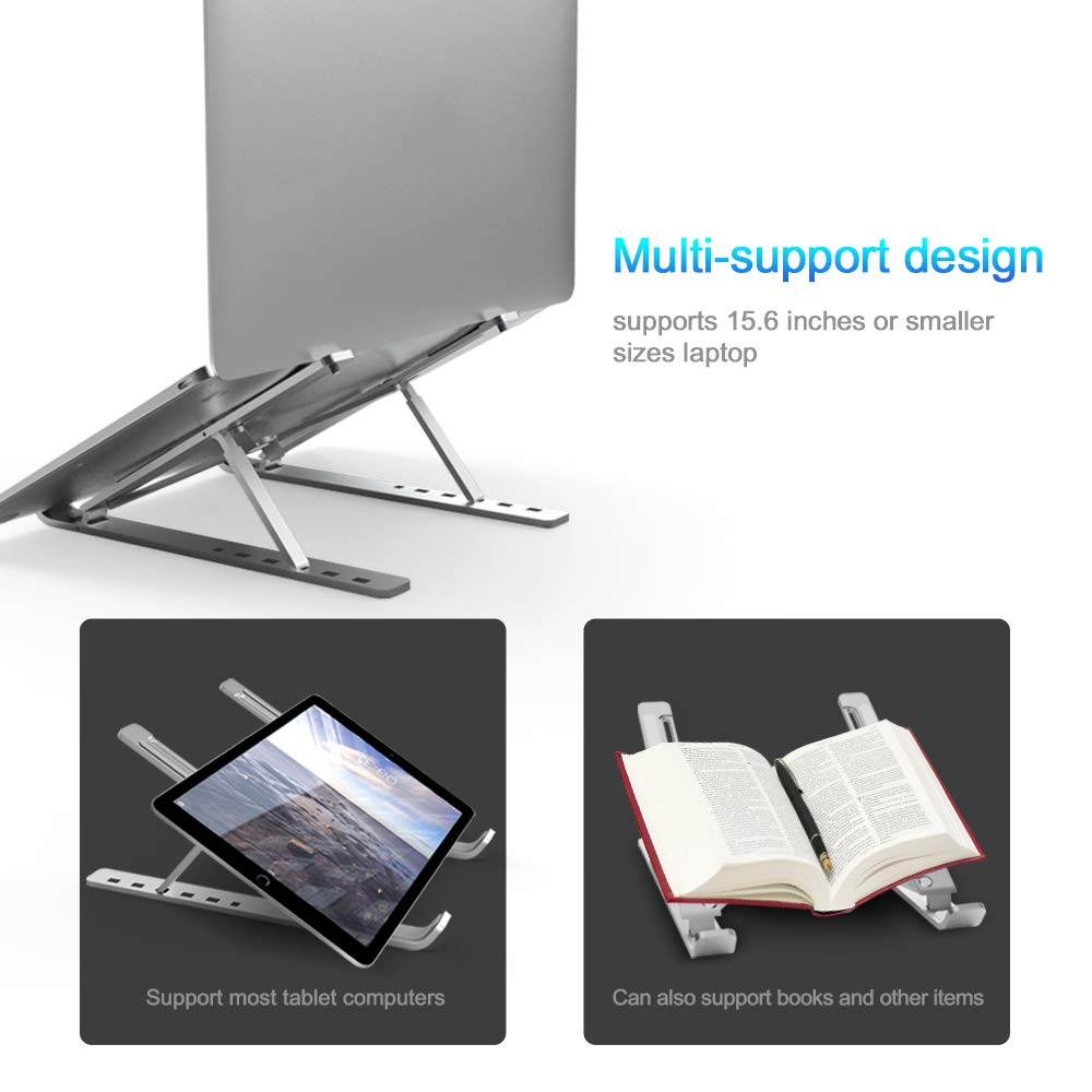 Ergonomic Flexible Folding Height Adjustable Aluminum Foldable Portable Adjustment Desktop Laptop Notebook Holder Riser Stand