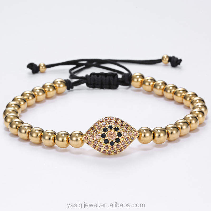 Wholesale Fashion gold jewelry copper beads fashion jewelry charms bracelet for men jewelry