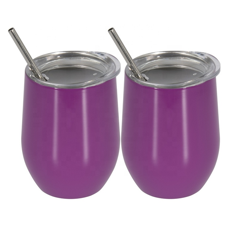 dark purple <strong>12</strong> oz Stainless Steel Stemless Wine Glass, Unbreakable Double Wall Vacuum Insulated Wine Tumbler with Lid