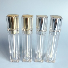 P-Lan Brand Stock 7ml Metal Silver/Gold Color Square Empty Clear Lip Gloss <strong>Container</strong> With Low MOQ