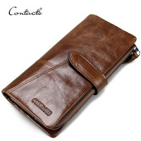 dropship contact's wholesale fashion 100% genuine leather coin purse card holder cellphone pocket long leather wallet for man