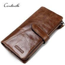 dropship contact's wholesale fashion 100% genuine leather coin purse card holder cellphone pocket long leather wallet for <strong>man</strong>