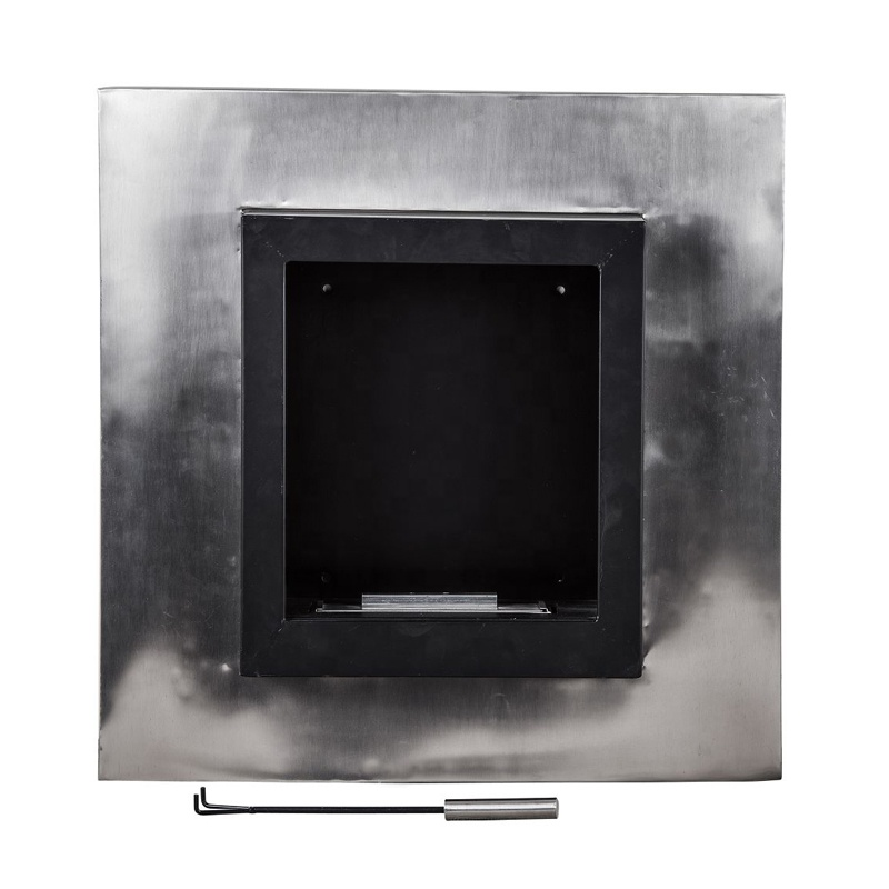 square security fireplace with stainless steel alcohol box