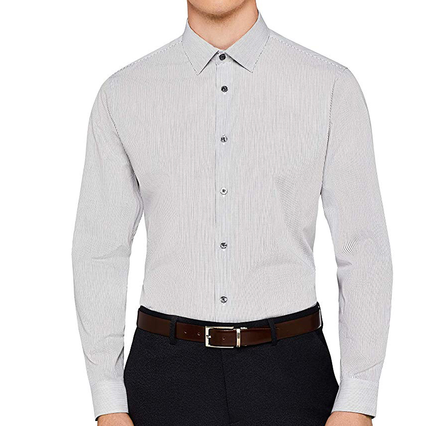 100% Cotton Men's Regular Fit Stripe Formal Long Sleeves Shirt With Classic Collar