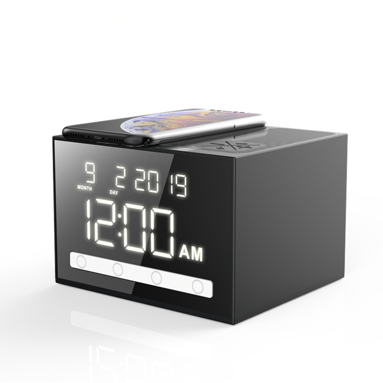 Amazon Hot Sale  wireless charger speaker with alarm clock wireless charger blue tooth speaker