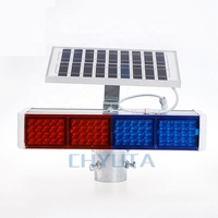 Square Solar Red and Blue Warning Lights safty solar flashing red traffic warning light