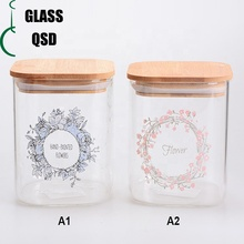Square Borosilicate <strong>Glass</strong> Storage Food Jar With Bamboo Wooden Lid
