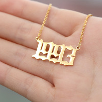 18k Gold 316L Stainless Steel Birth Year Necklace Personalized Old English Arabic Year Number Pendant Necklace