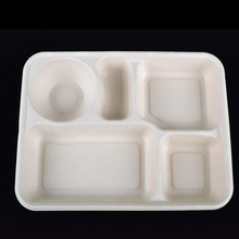 1250ml Disposable Bamboo pulp five lunch box Eco-friendly 5 rooms food <strong>container</strong>