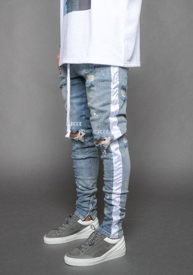 OEM High quality custom destoryed ripped mans denim Biker trousers jeans 123