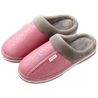 Men Leather Fabric Waterproof Winter Indoor Pu Plush Cotton Slippers For Women