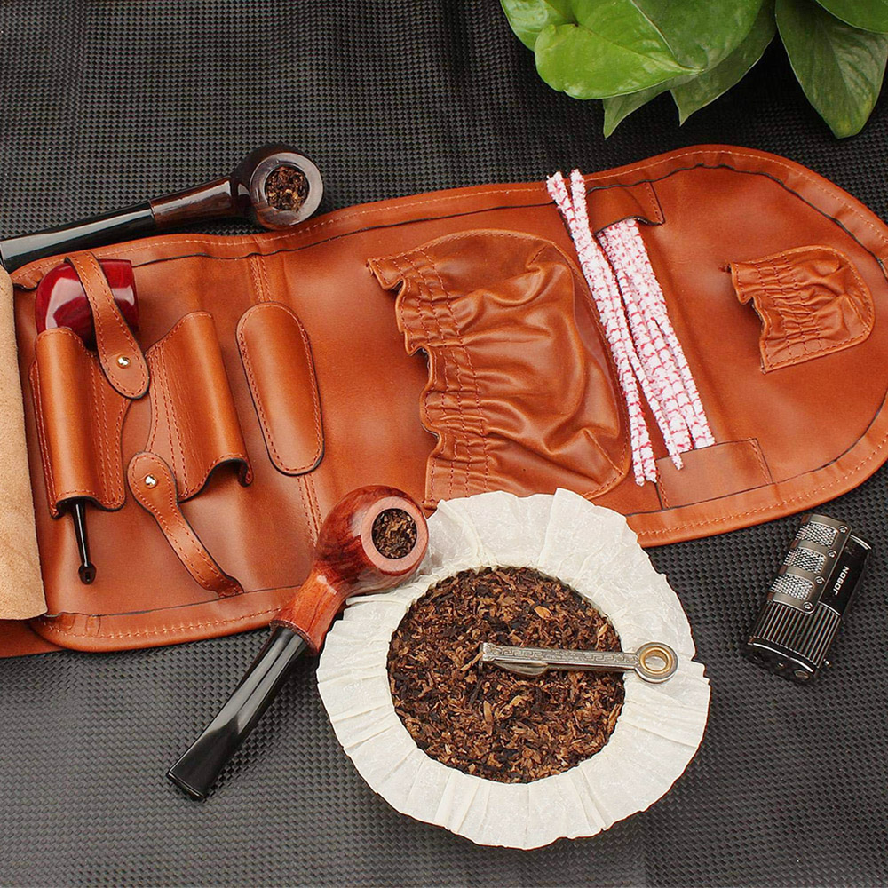 custom handmade best travel roll up case leather pipe tobacco pouch