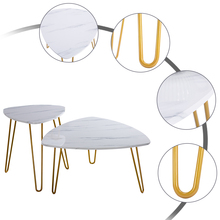 Free Shipping Modern Luxury 2 Sets Gold Iron Feet White Marble Side Coffee <strong>Table</strong>