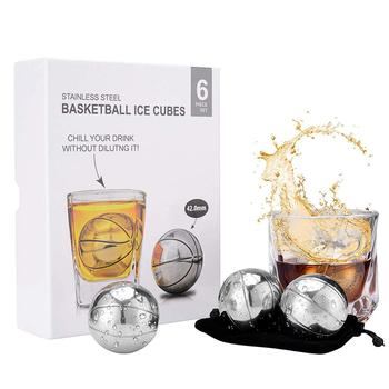 Recycle whisky ice stone basketball round ice cube metal stainless steel whiskey stone