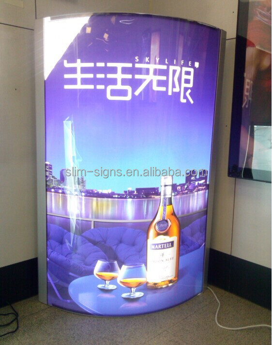 guangzhou customized column Pillar advertising light box curved shape snap <strong>frame</strong> Back lit <strong>LED</strong> advertising pillar sign for mall